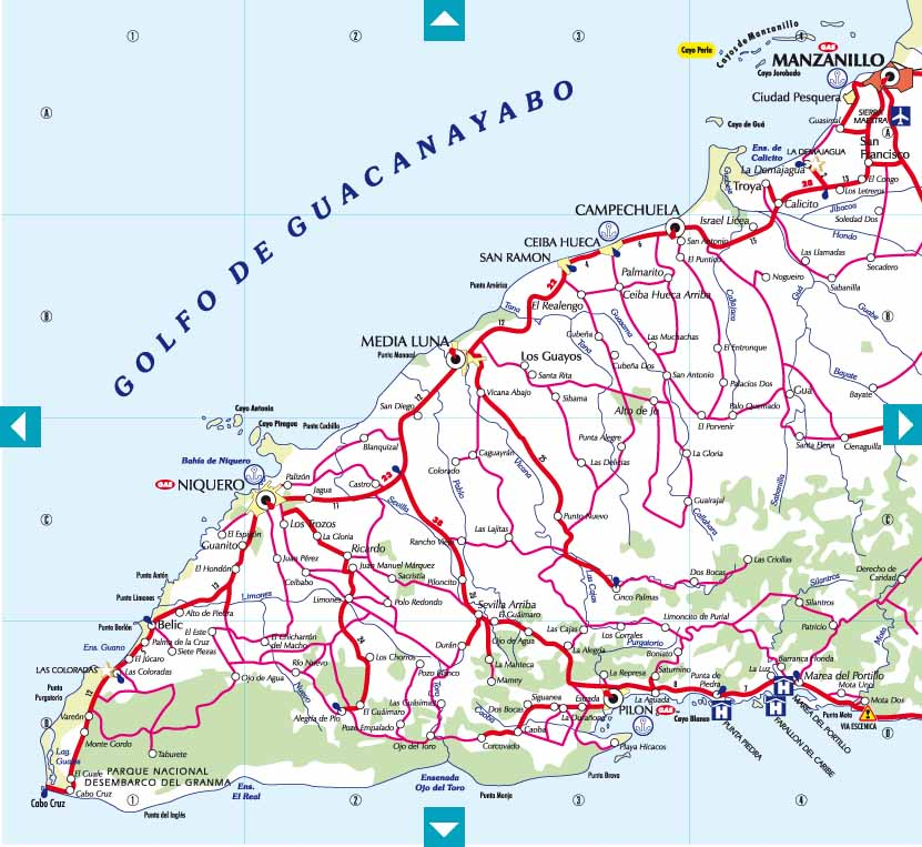 CubaMappa : Guia de carreteras de Cuba, Road Map of Cuba & Map of